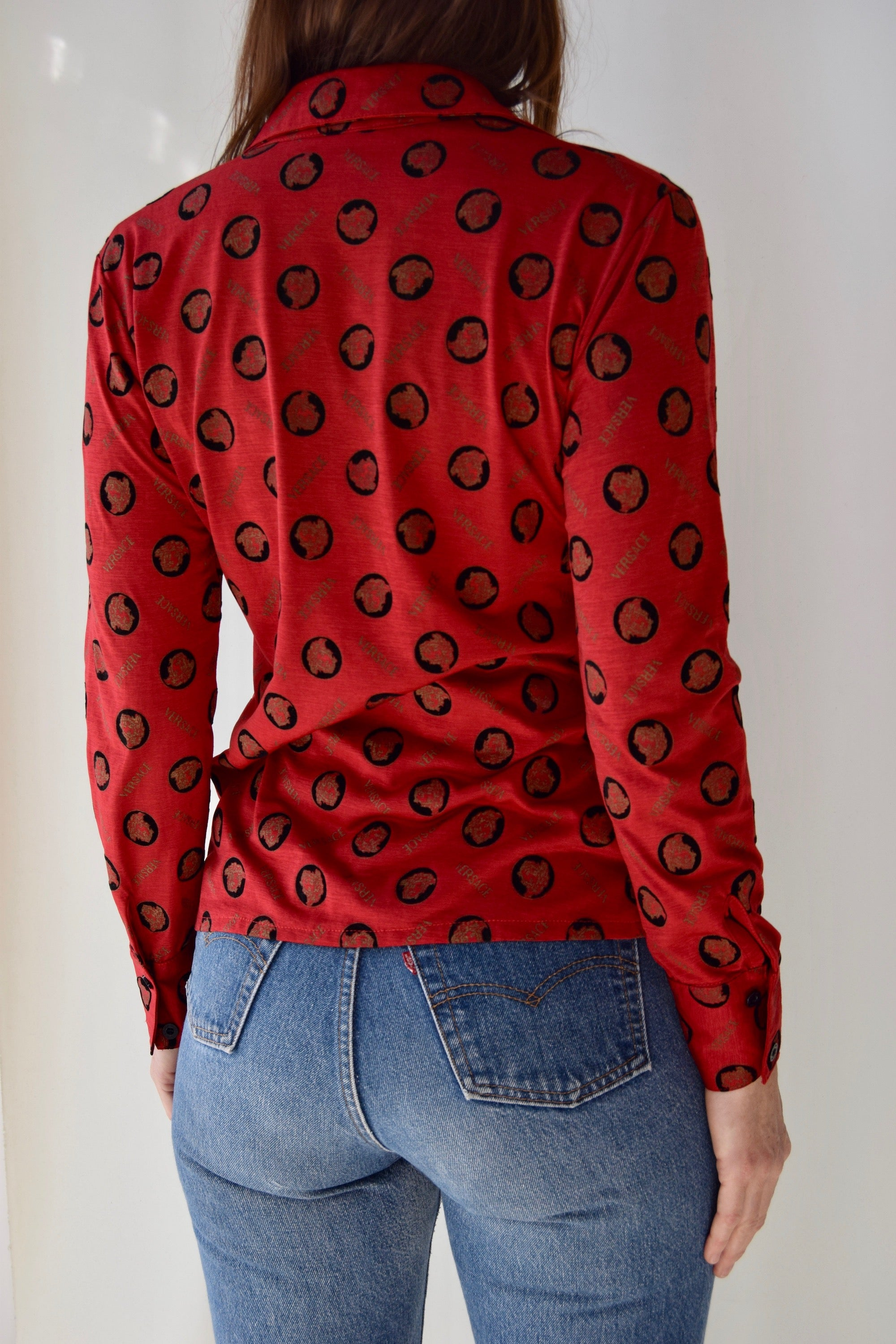 Cherry Red Faux Versace Allover Print Top