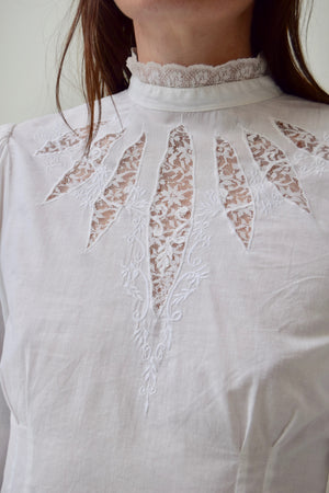 80's Antique Inspired Lace Window Blouse