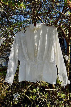 Antique High Collar Lace And Cotton Gauze Top