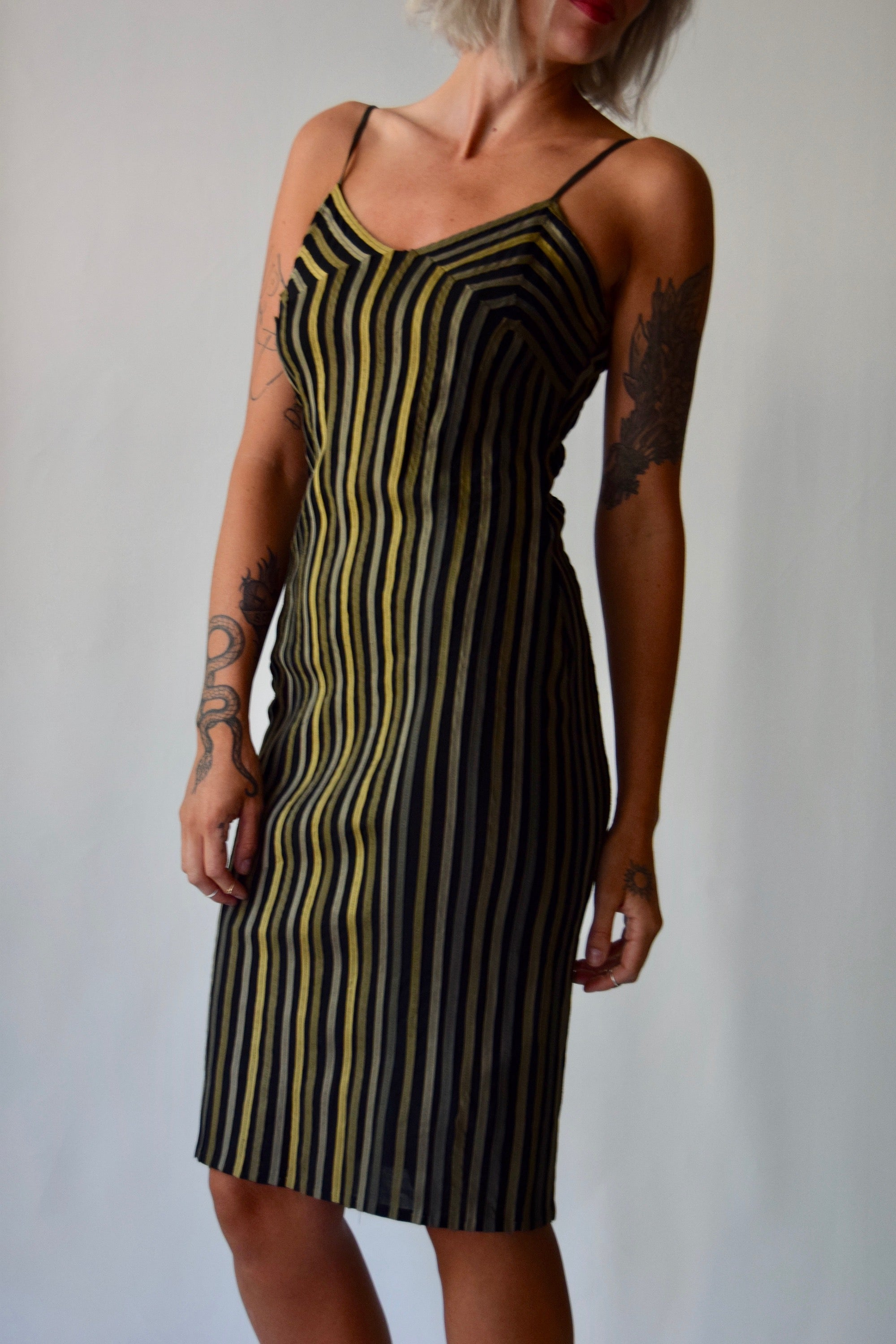 Olive Ribbon Slip Dress FREE SHIPPING TO THE U.S.