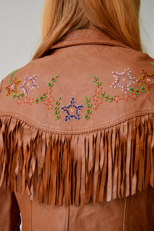Vintage 1960's Beaded Fringe Leather Jacket