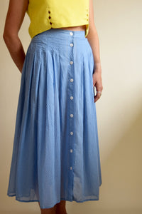 Vintage Lizsport Cotton Polka Dot Midi Skirt