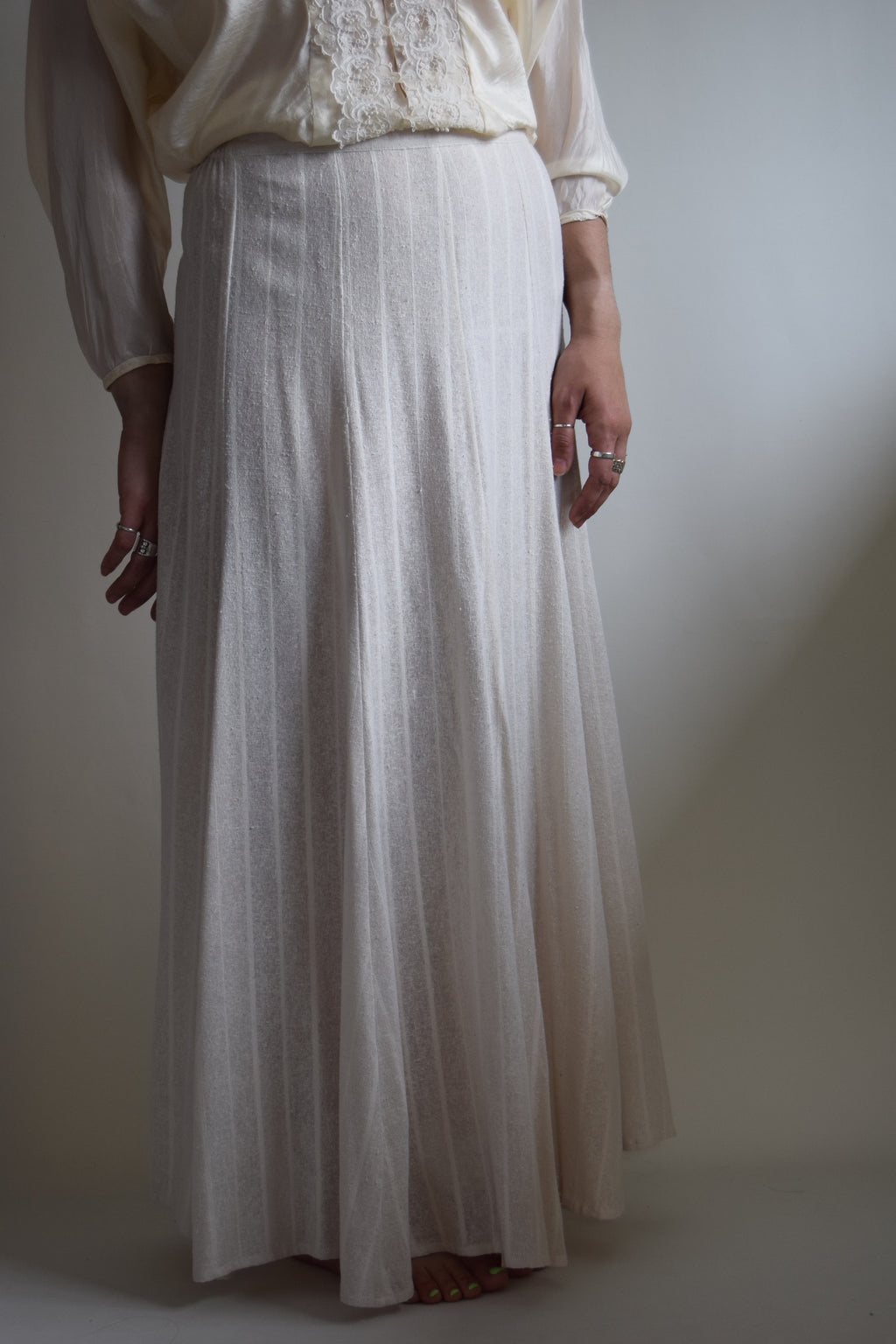 Vintage Ivory Washed Raw Silk Skirt FREE SHIPPING TO THE U.S.