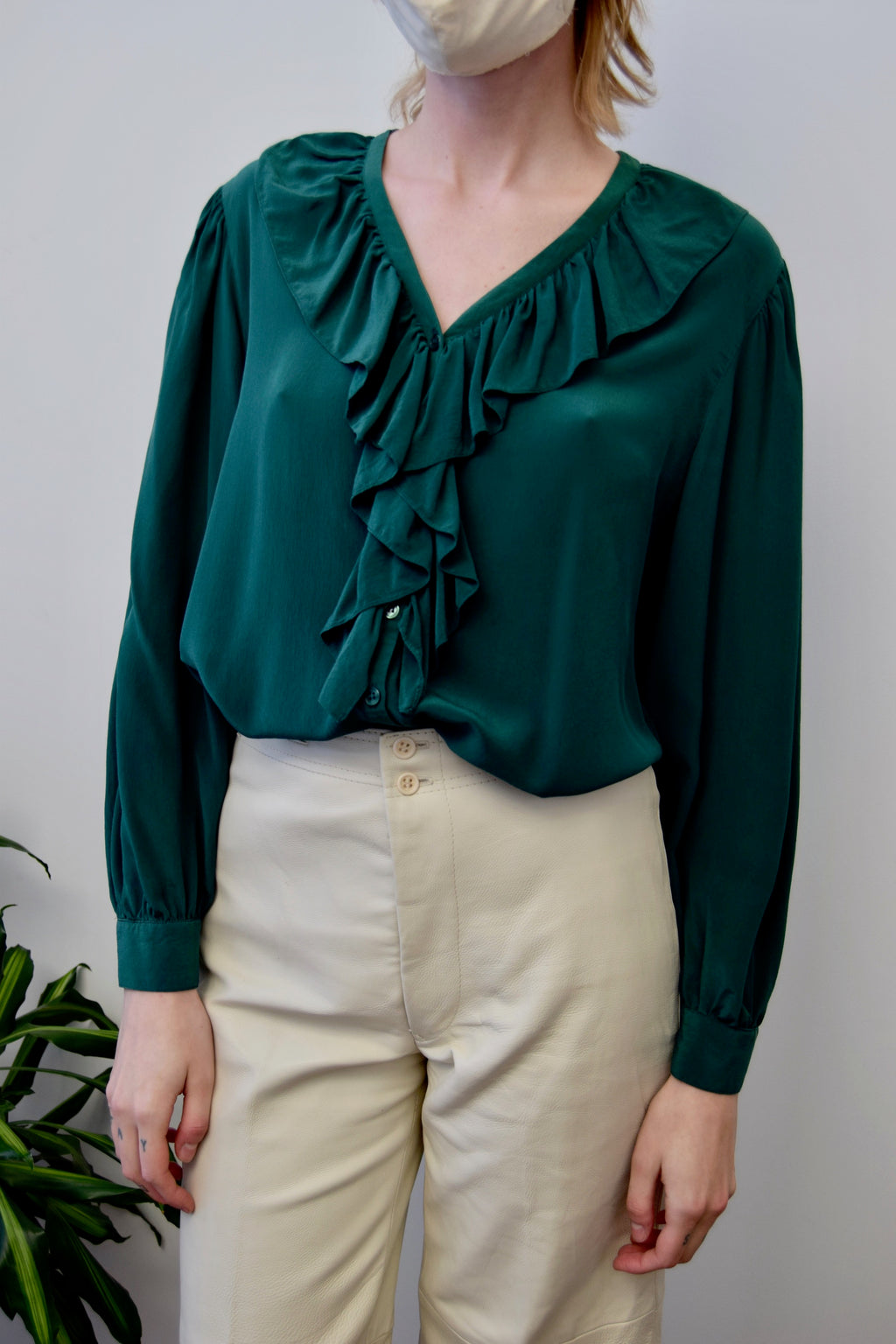 Emerald Silk Ruffle Top