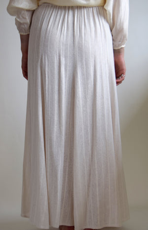 Vintage Ivory Washed Raw Silk Skirt
