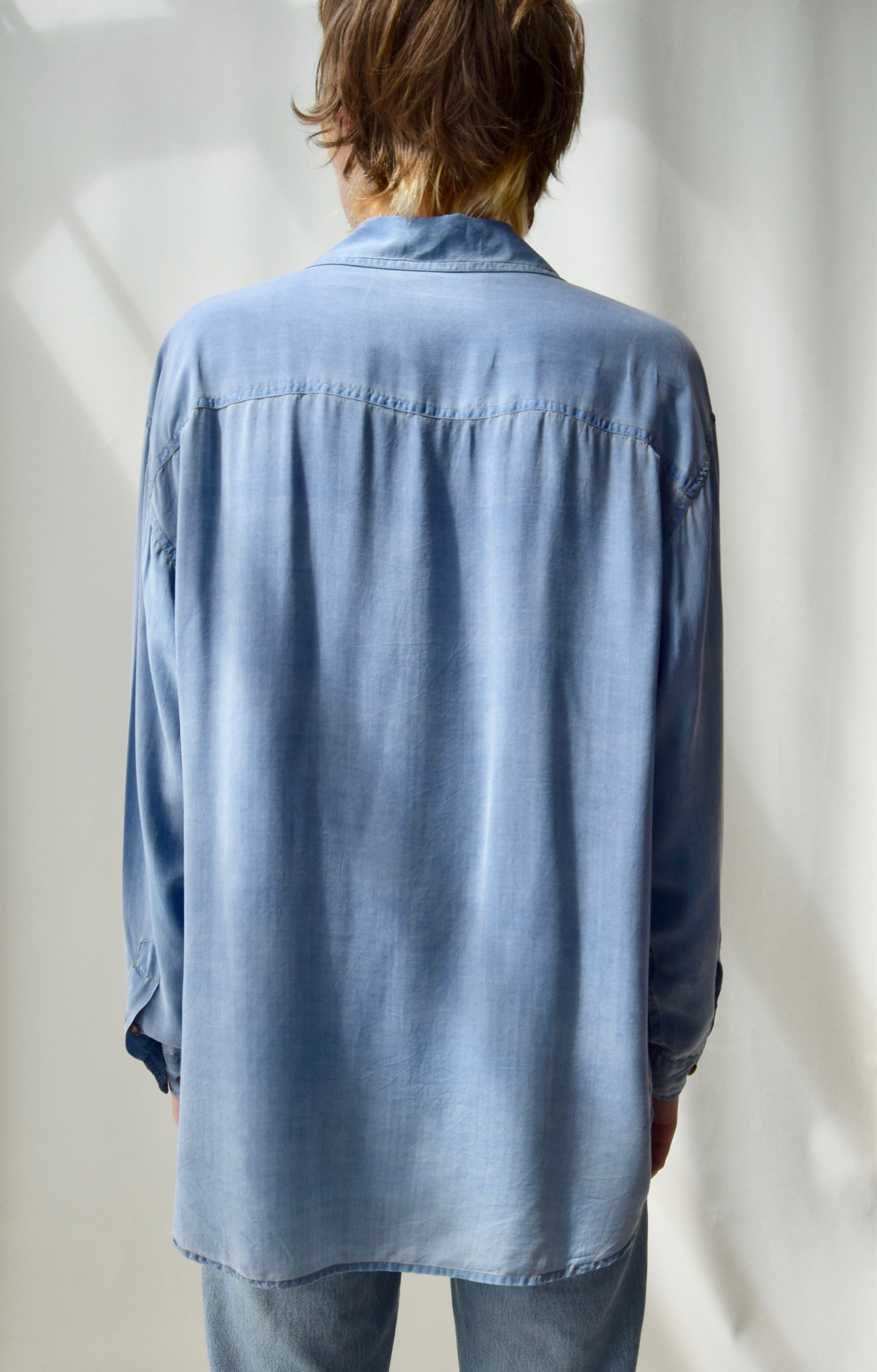 Chambray Silk Top