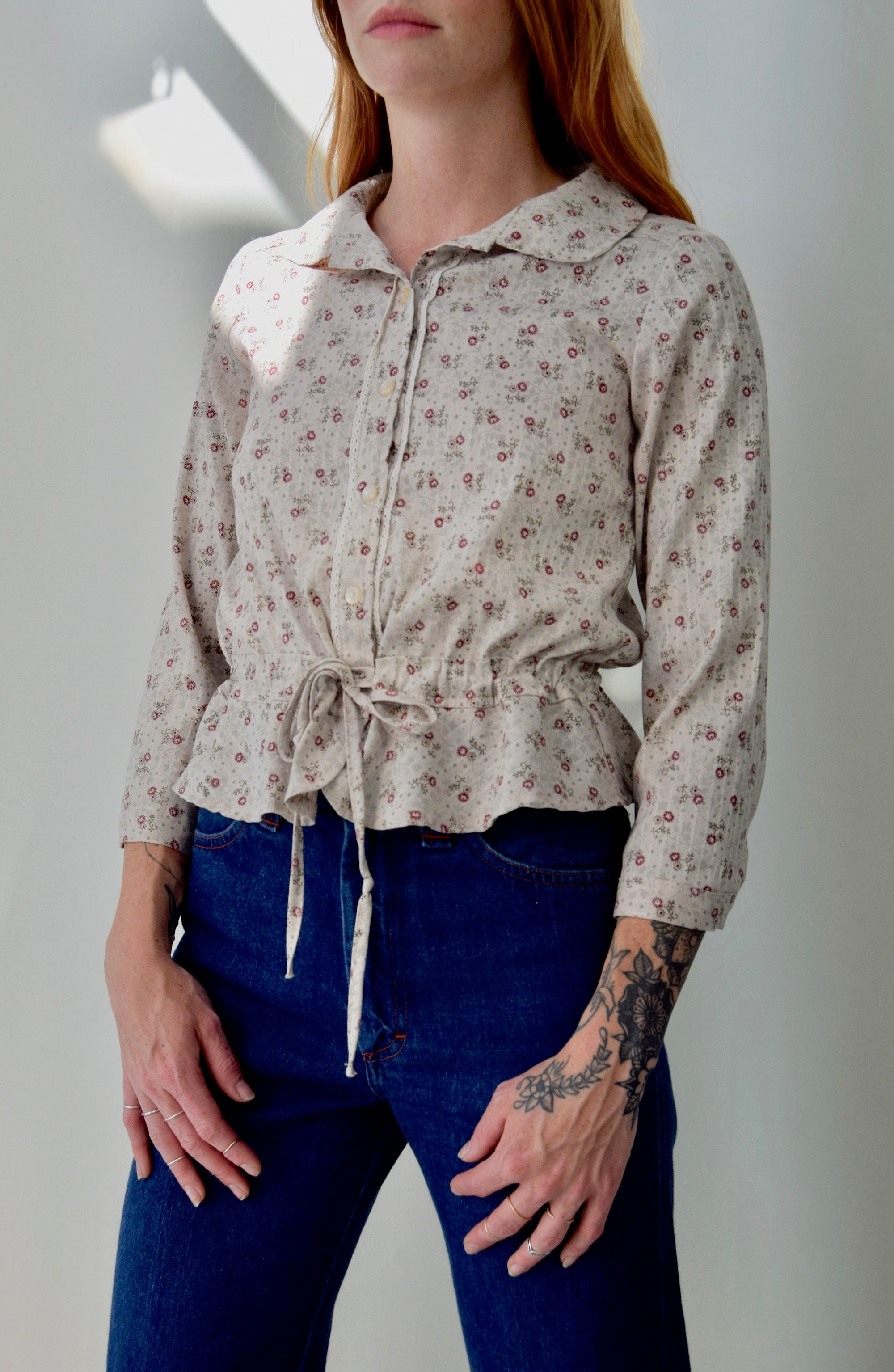 Floral Prairie Button Up Top