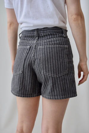 90's Black Striped Relaxed Shorts