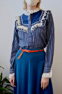 Blue Western Bib Top