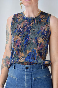 Pleated Abstract Floral Top