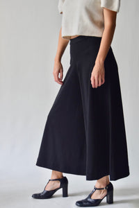 Vintage Double Knit Black Culotte Trousers