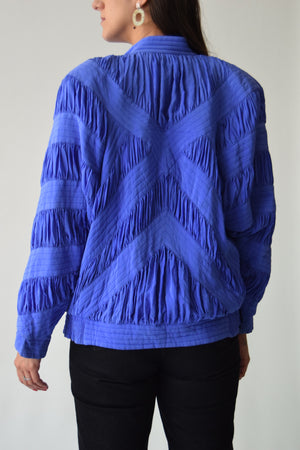 Ruched Electric Purple Bomber Jacket