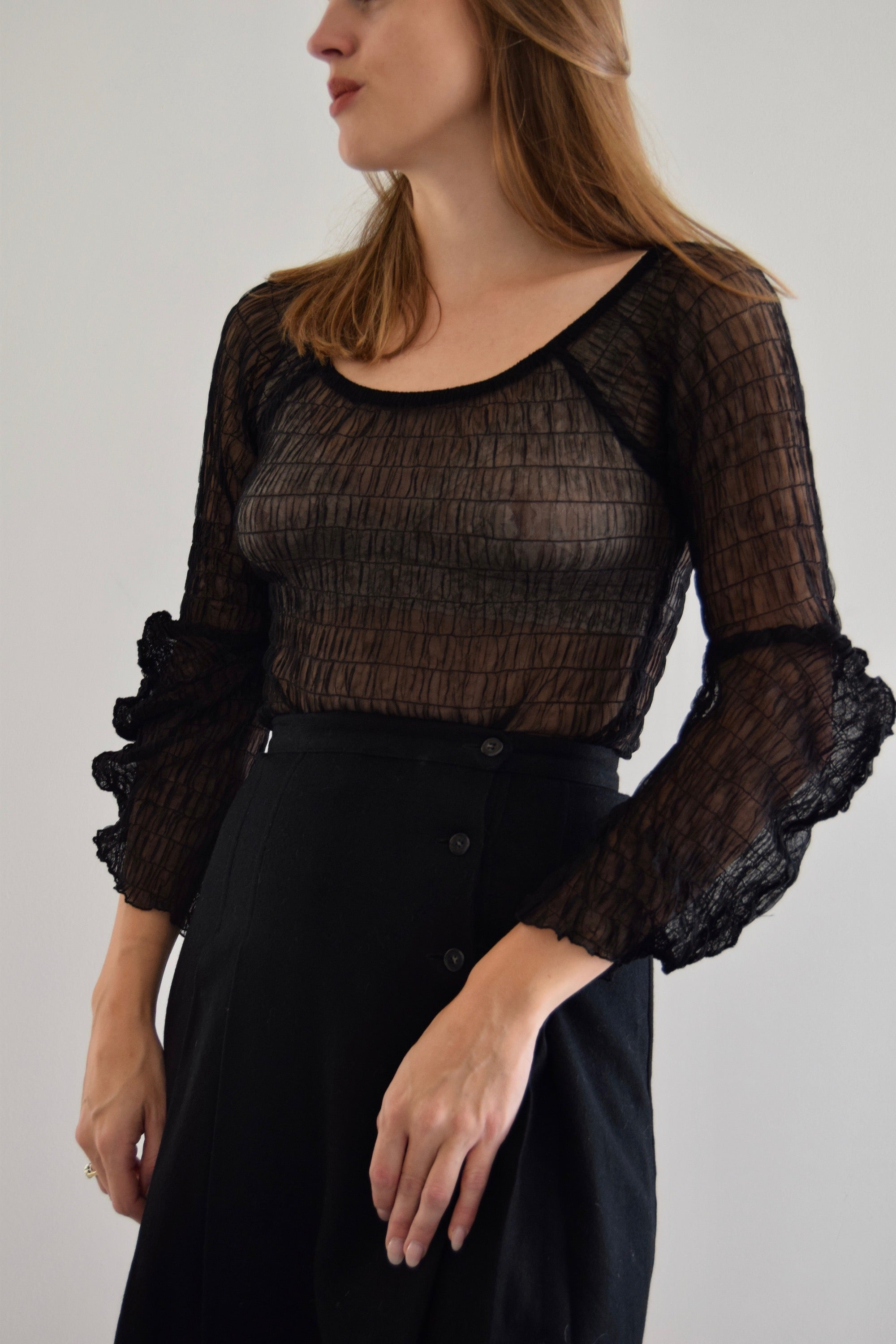 90's Sheer Black Renaissance Top FREE SHIPPING