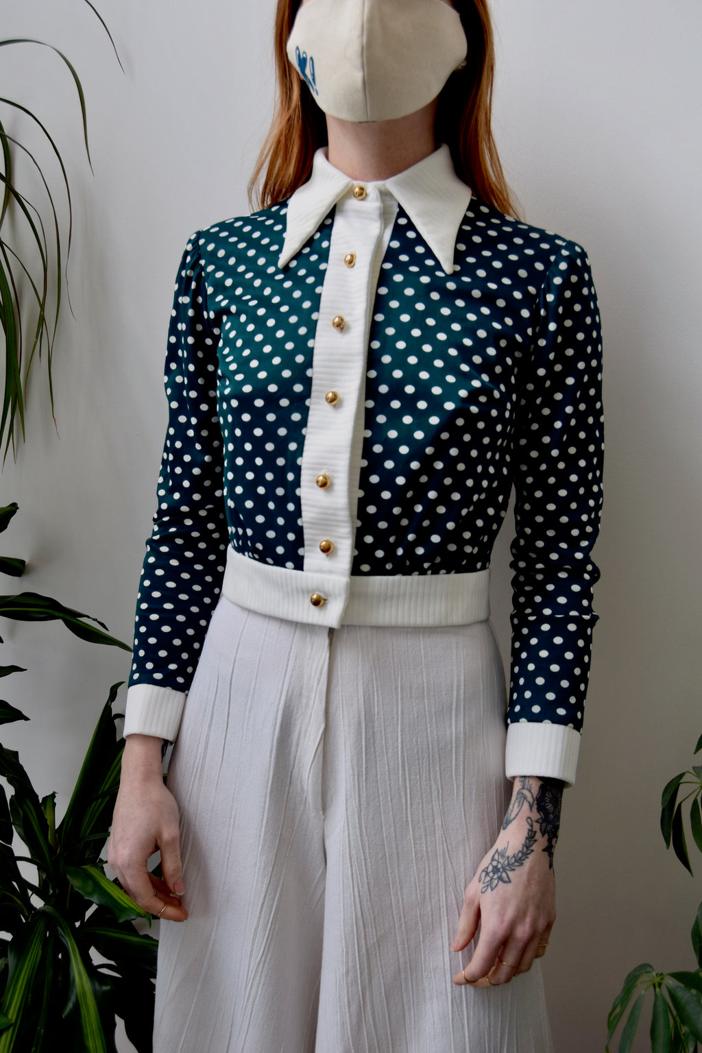 Seventies Polka Dot Crop Top