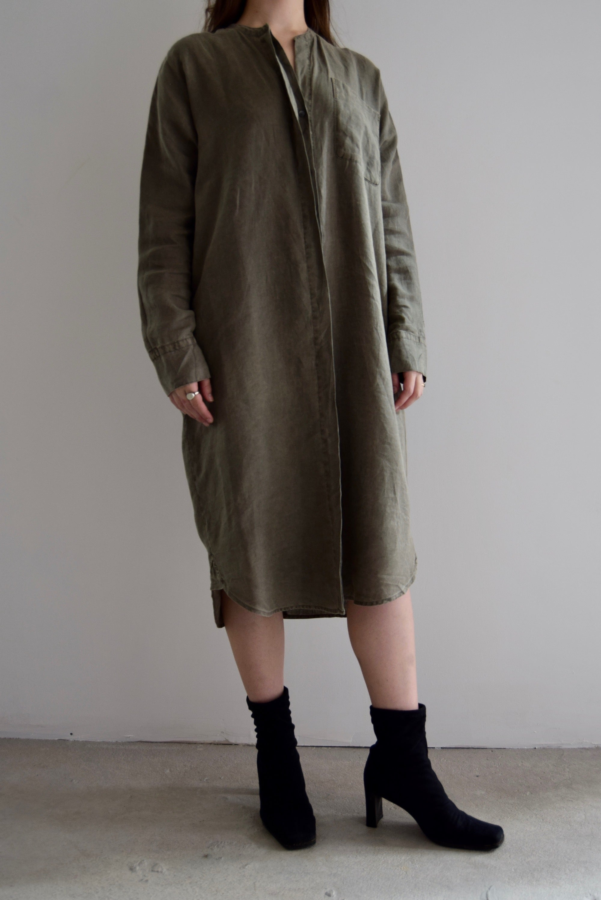 JAMES PERSE Dusty Grey Green Linen Tunic Dress