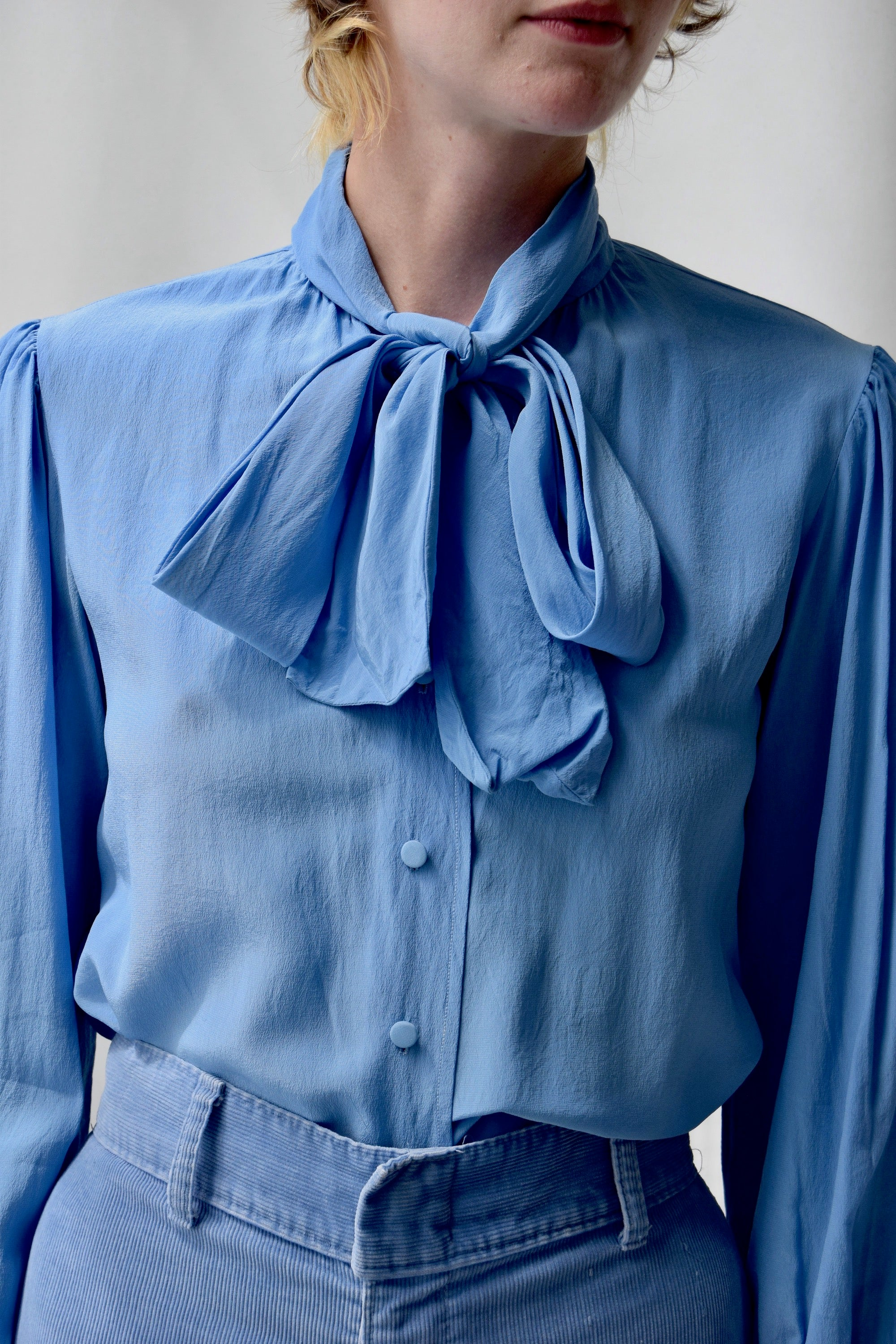 Silk Robins Egg Pussy Bow Blouse