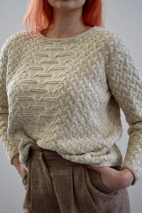 Ivory Silk and Linen Blend Cable Knit Sweater