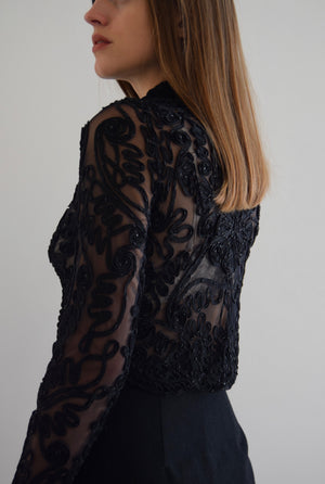 Raven Black Sheer Soutache Beaded Top