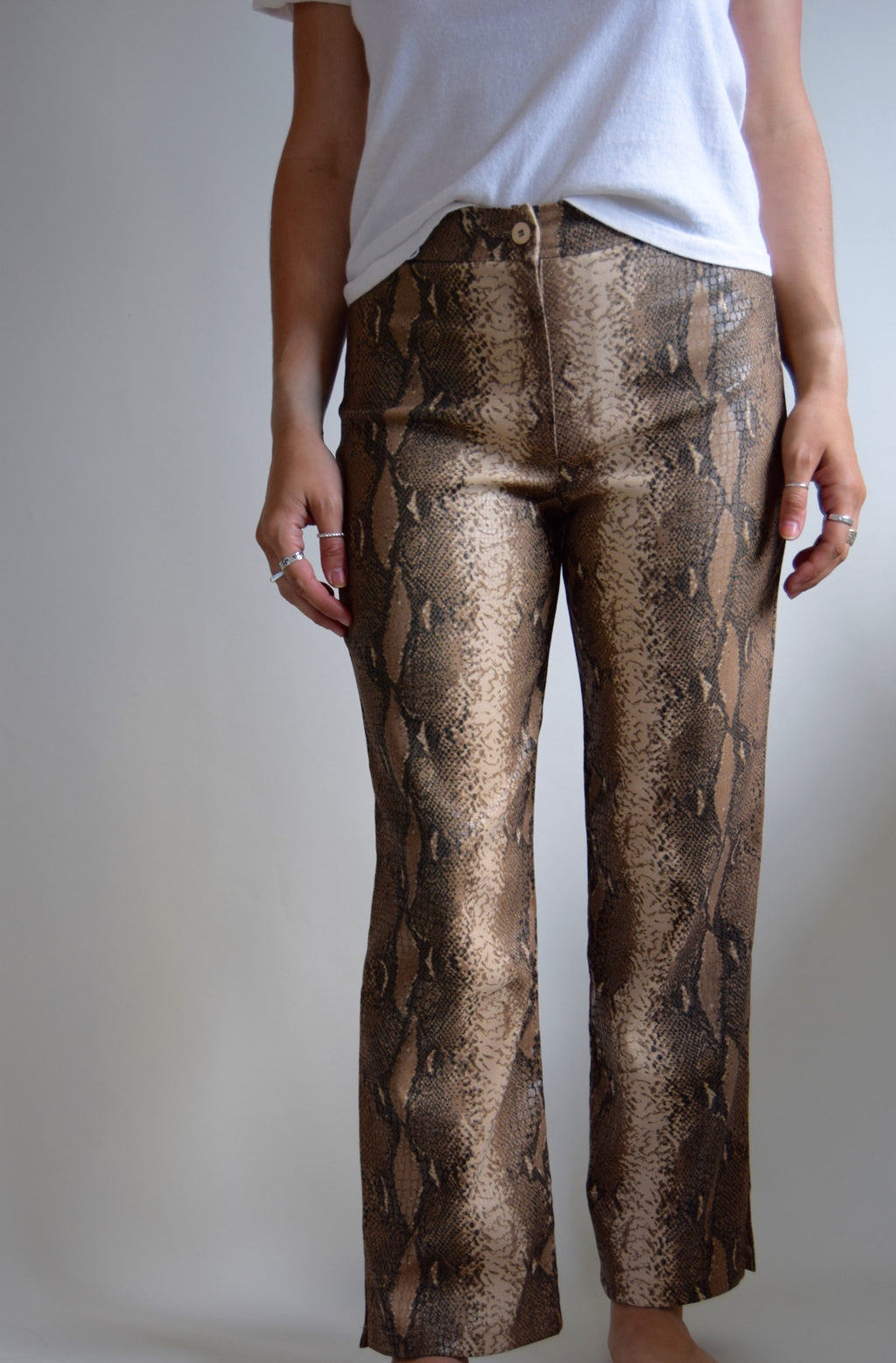 Vintage Cropped Snake Print Trousers