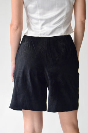 Black Suede Trouser Shorts