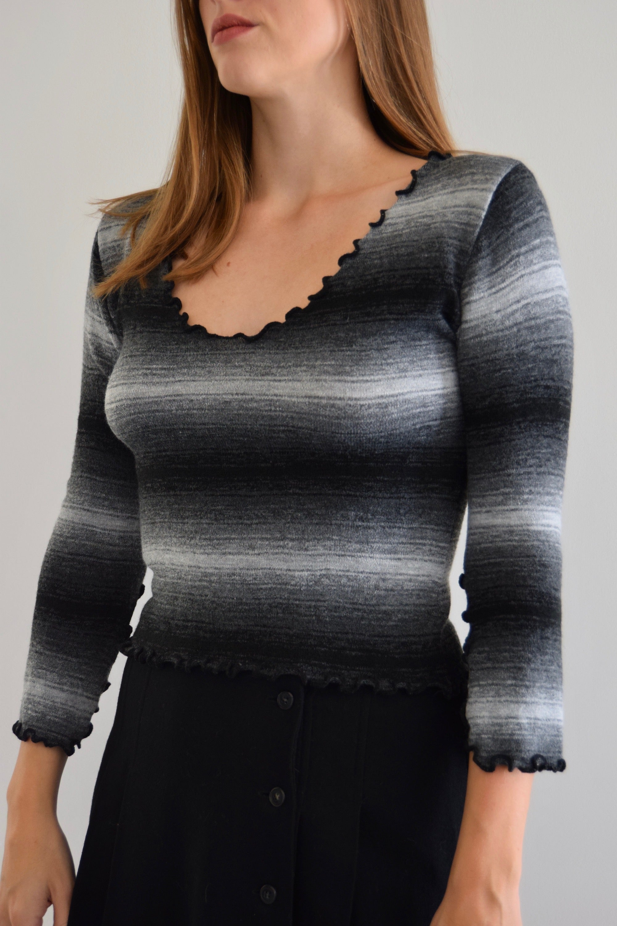 Ombrè Grey 90's Knit Top