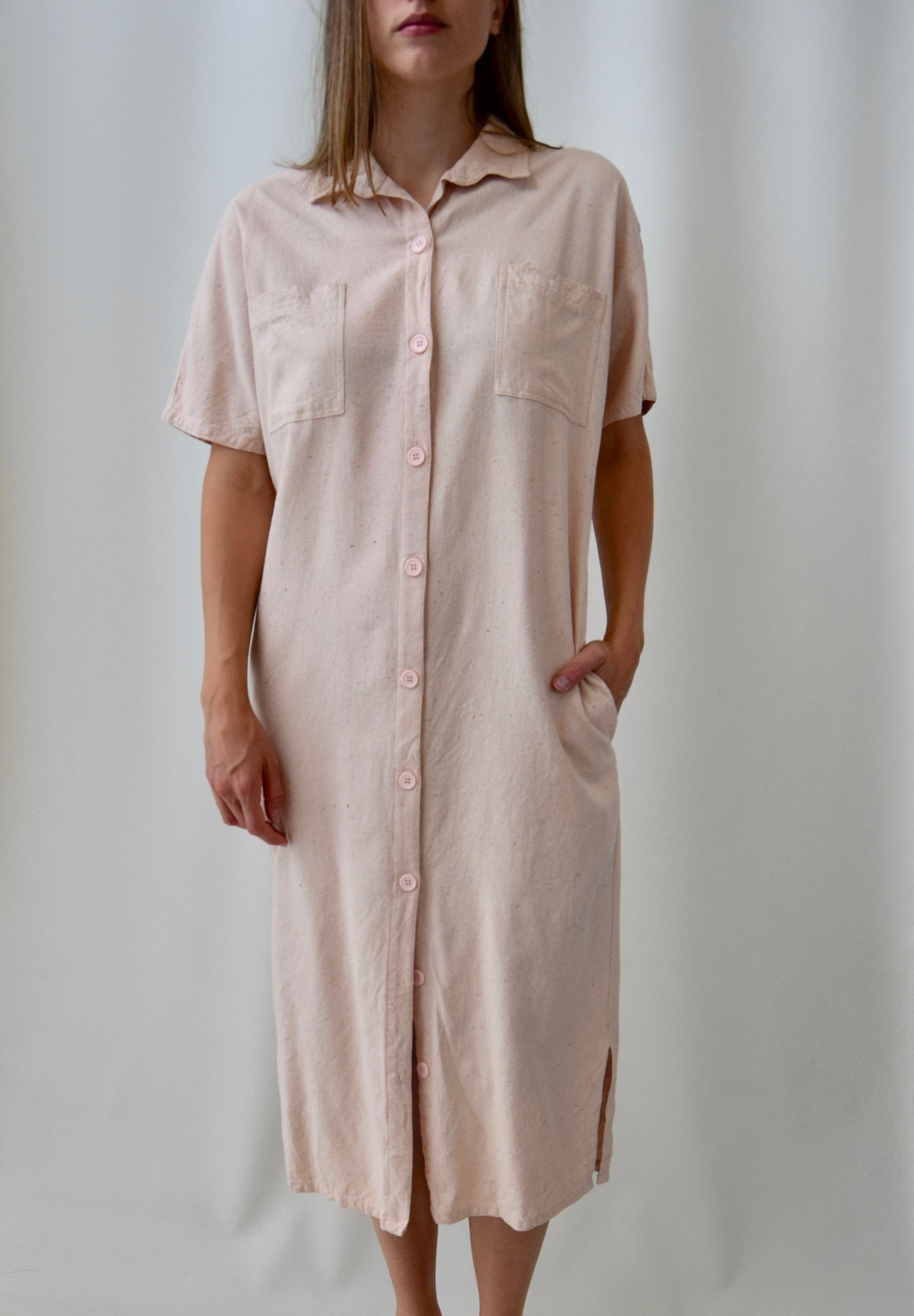 Blush Pink Raw Silk Shirt Dress