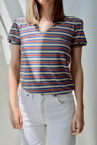 Striped Puff Sleeve Tee Top