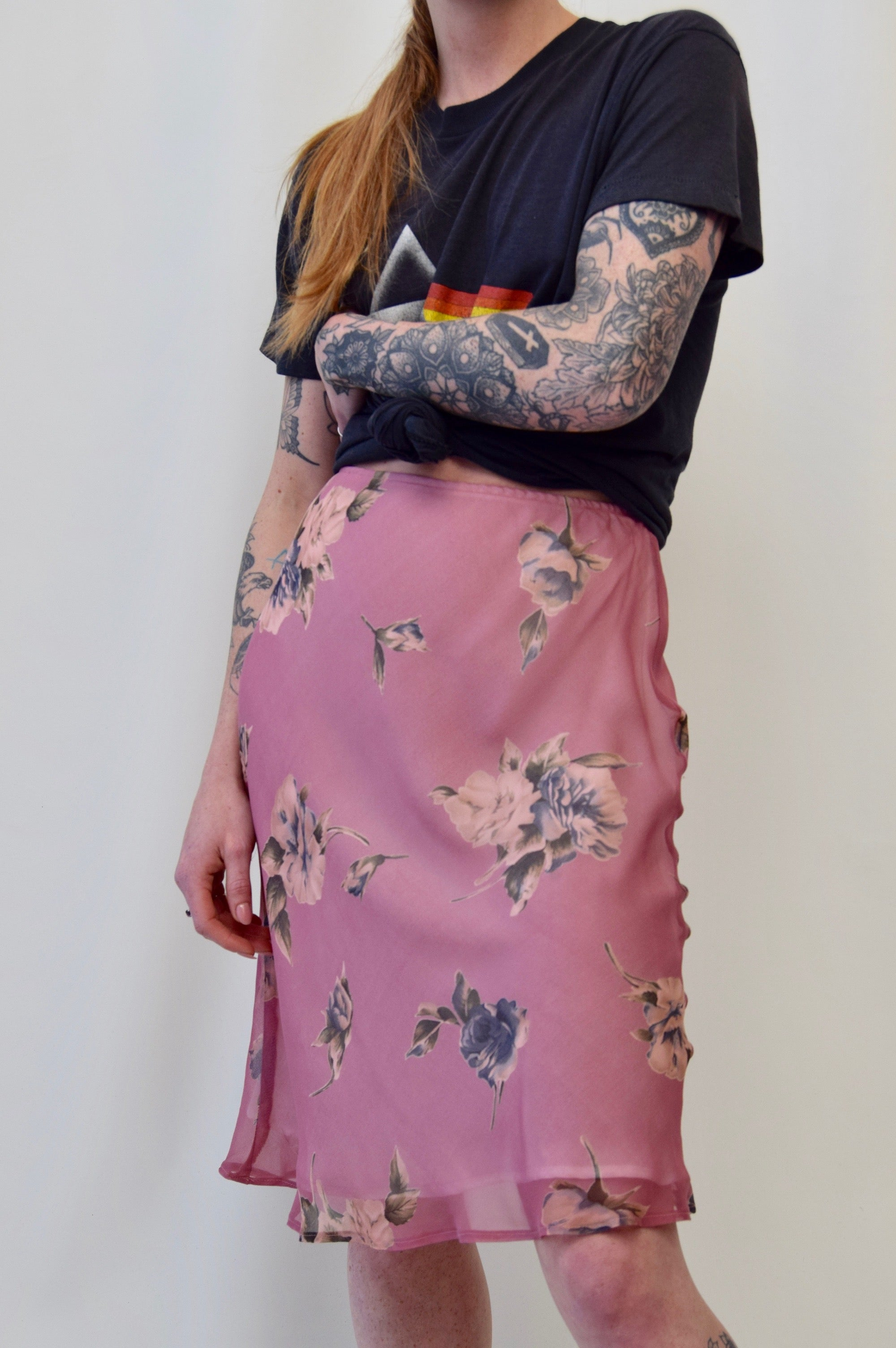 Vintage Silk Dusty Rose Pink Skirt