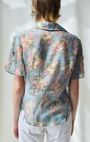 70's Semi Sheer Flutter Sleeve Floral Top