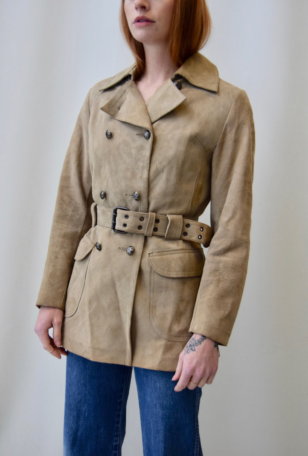 Sixties Lamb Leather Belted Coat