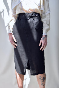 Belted Linen Pencil Skirt