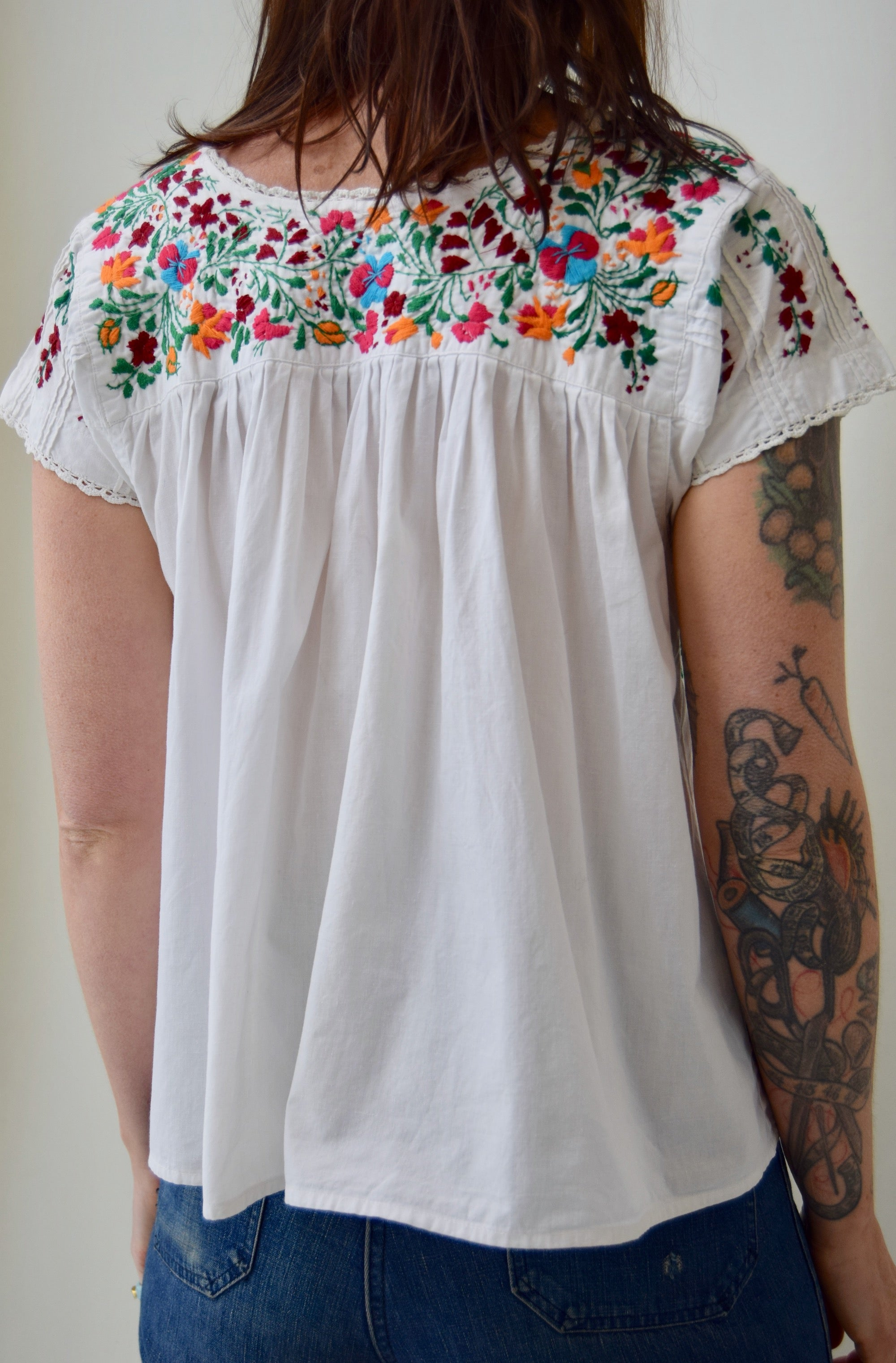 Bright Floral Embroidered Cotton Top