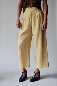 Ann Taylor Banana Cream Linen Cropped Trousers