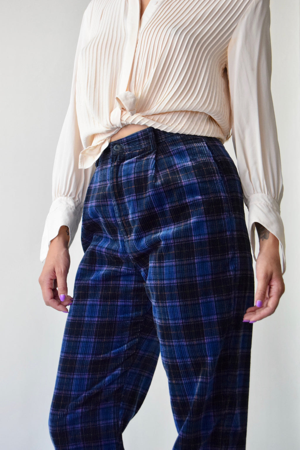 Violet and Indigo Plaid Corduroy Trousers