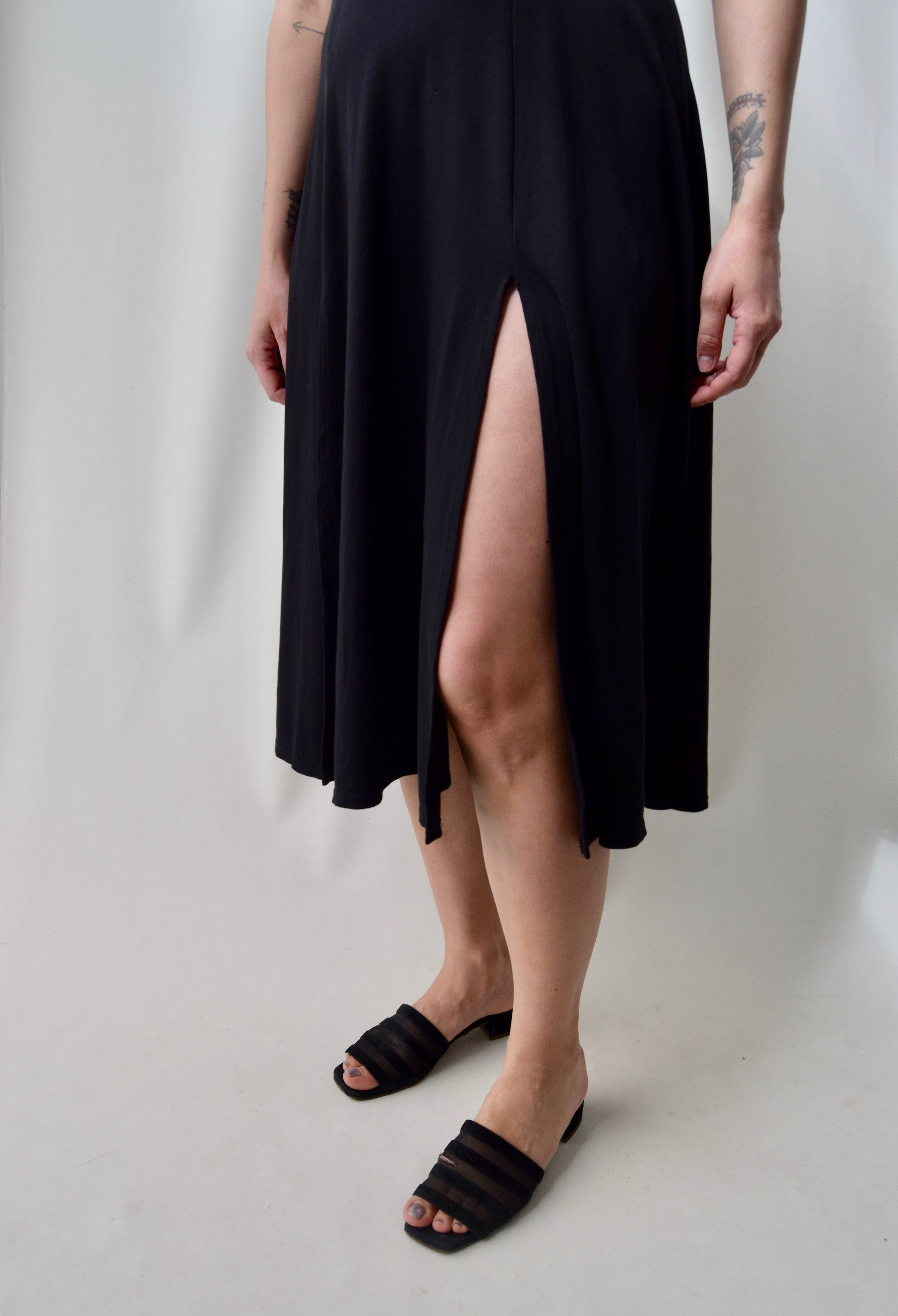 90's 'dalmys' Quadruple Slit Knit Dress