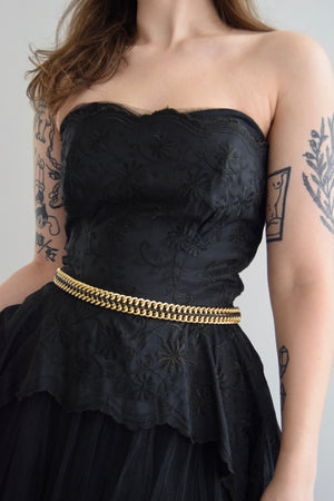 Vintage 50s Black Tulle Strapless Dress