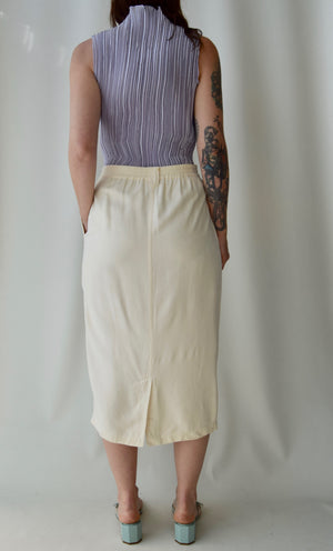"""New York Studio"" Ivory Raw Silk Skirt"