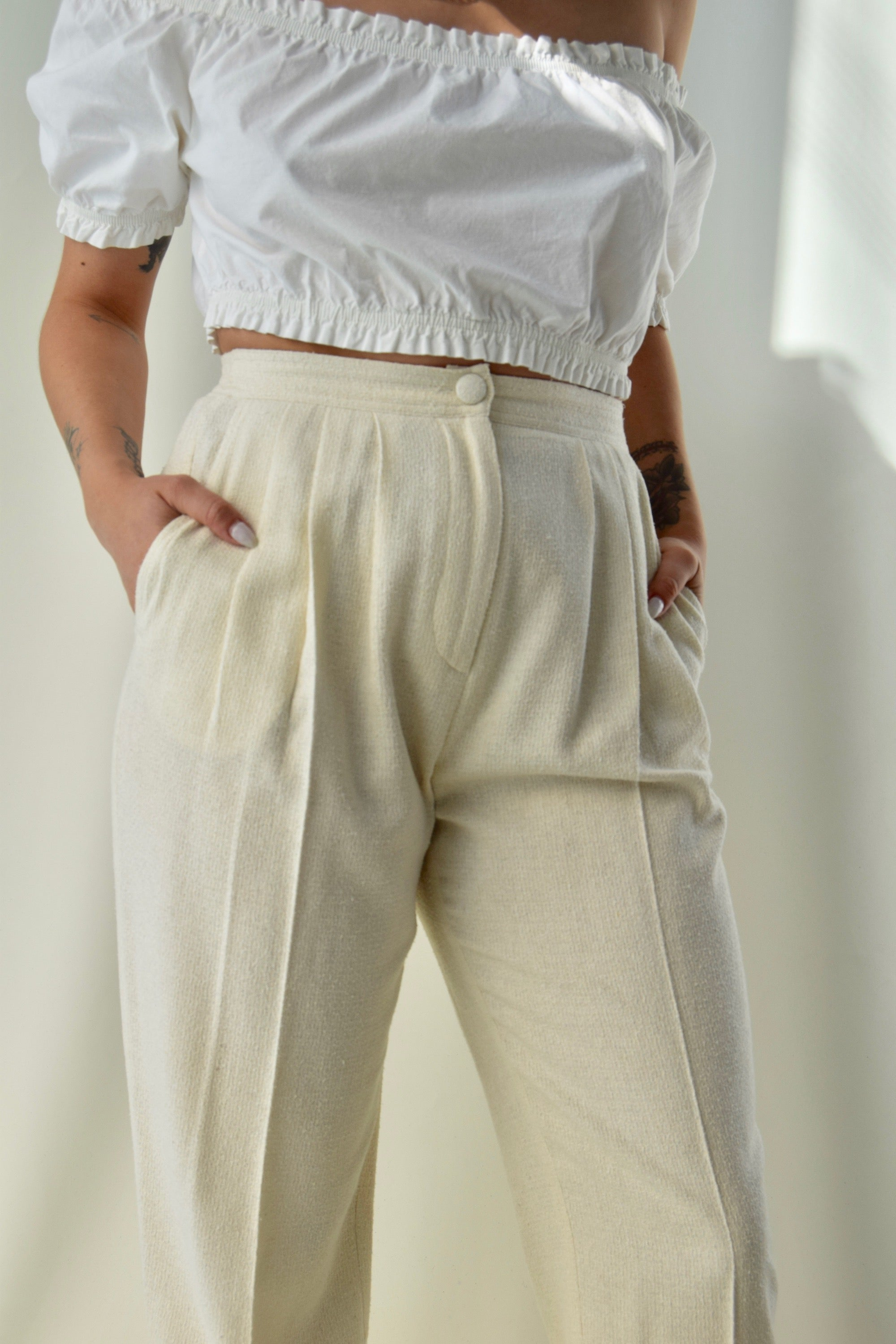 Egg Shell Raw Silk Trousers FREE SHIPPING TO THE U.S.