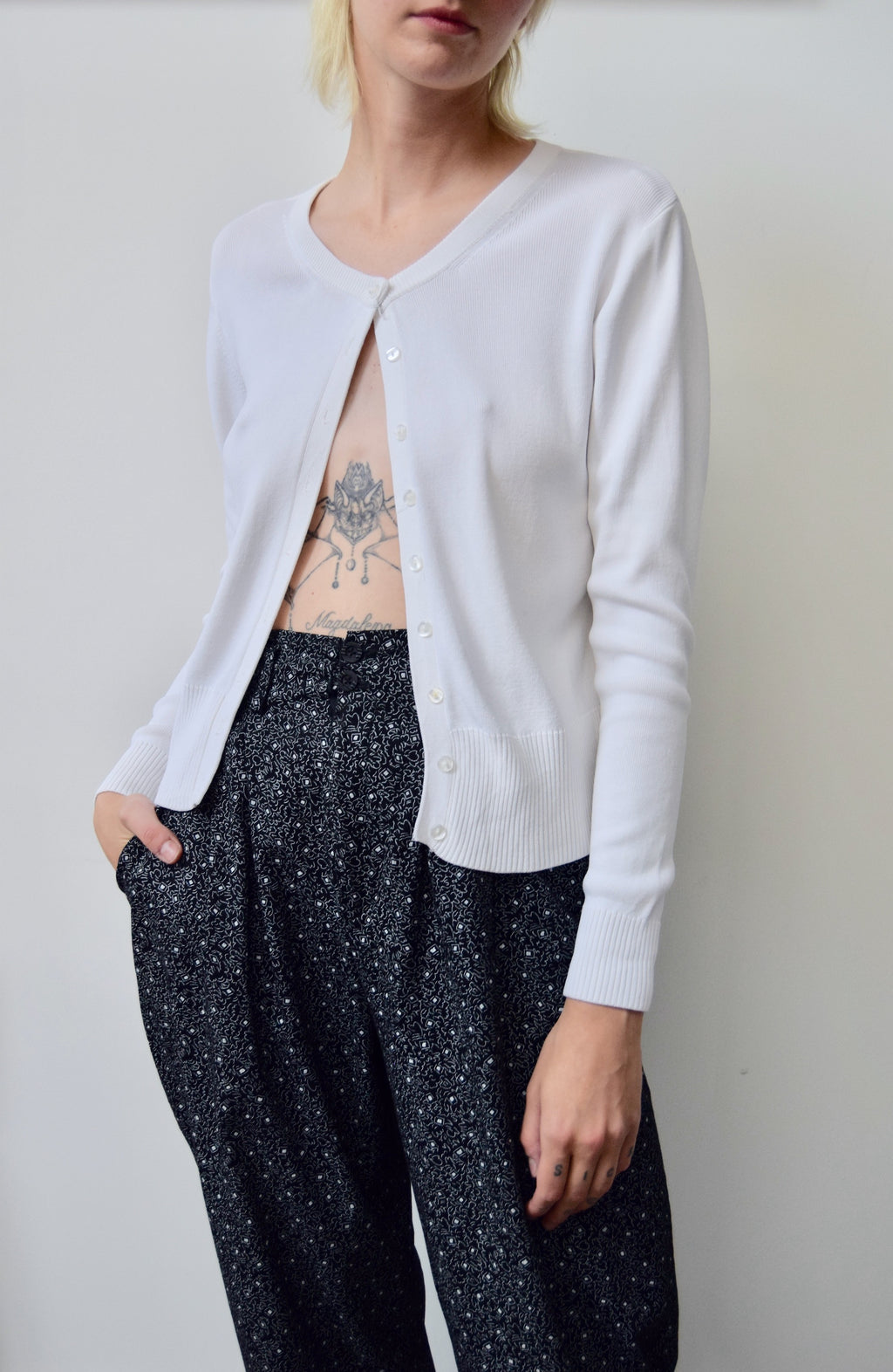Bright White Knit Cardigan