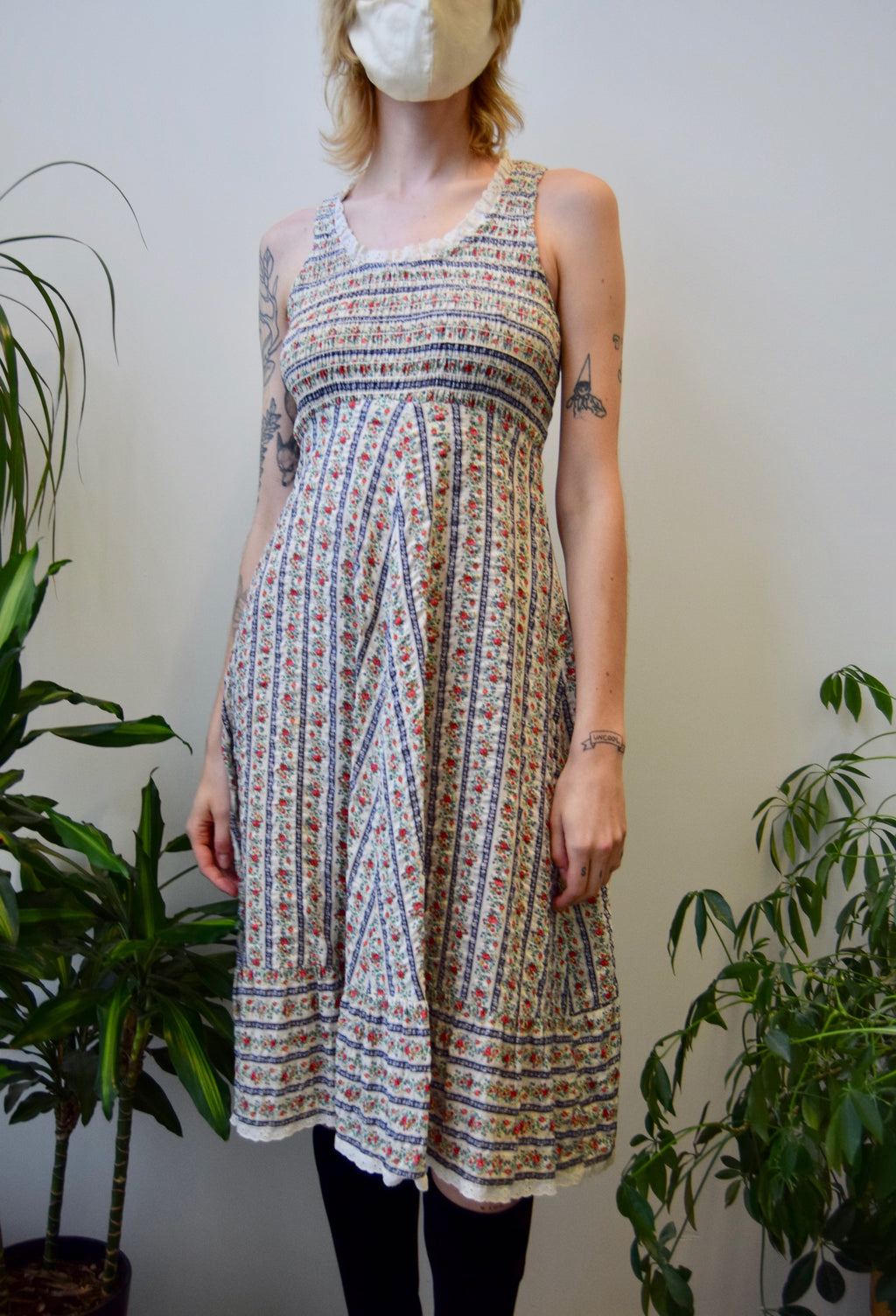 Seventies Floral Seersucker Dress