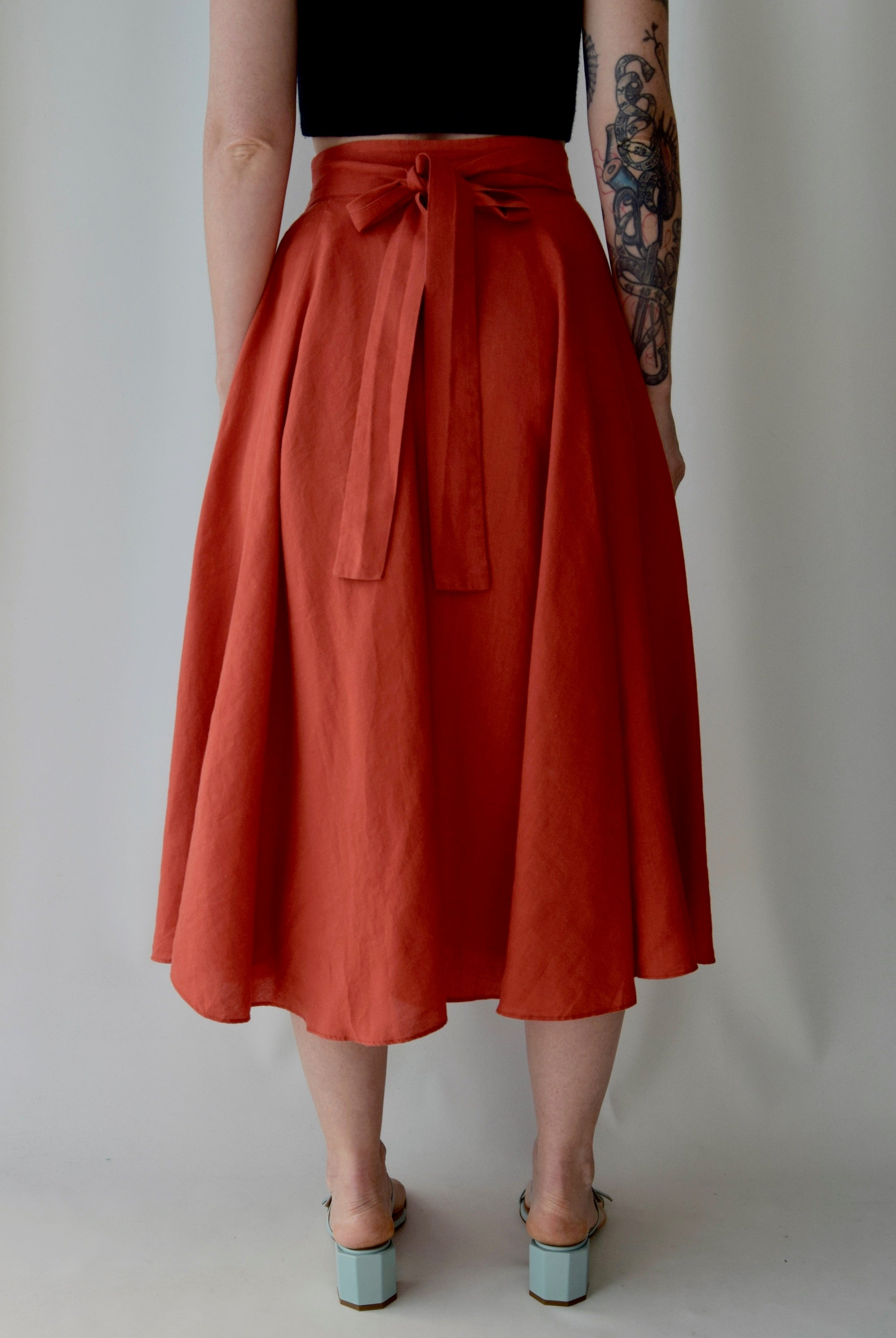Pumpkin Linen Skirt