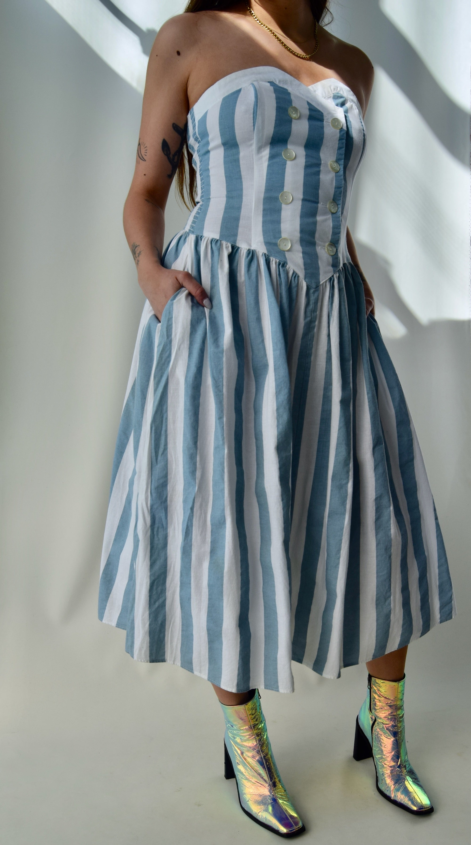 Powder Blue Striped Sweetheart Summer Dress FREE SHIPPING TO THE U.S.