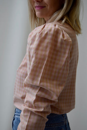 Vintage 70's Pink and Taupe Gingham Blouse