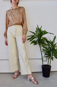 "Seventies ""Anne Klein"" Cream Leather Trousers"