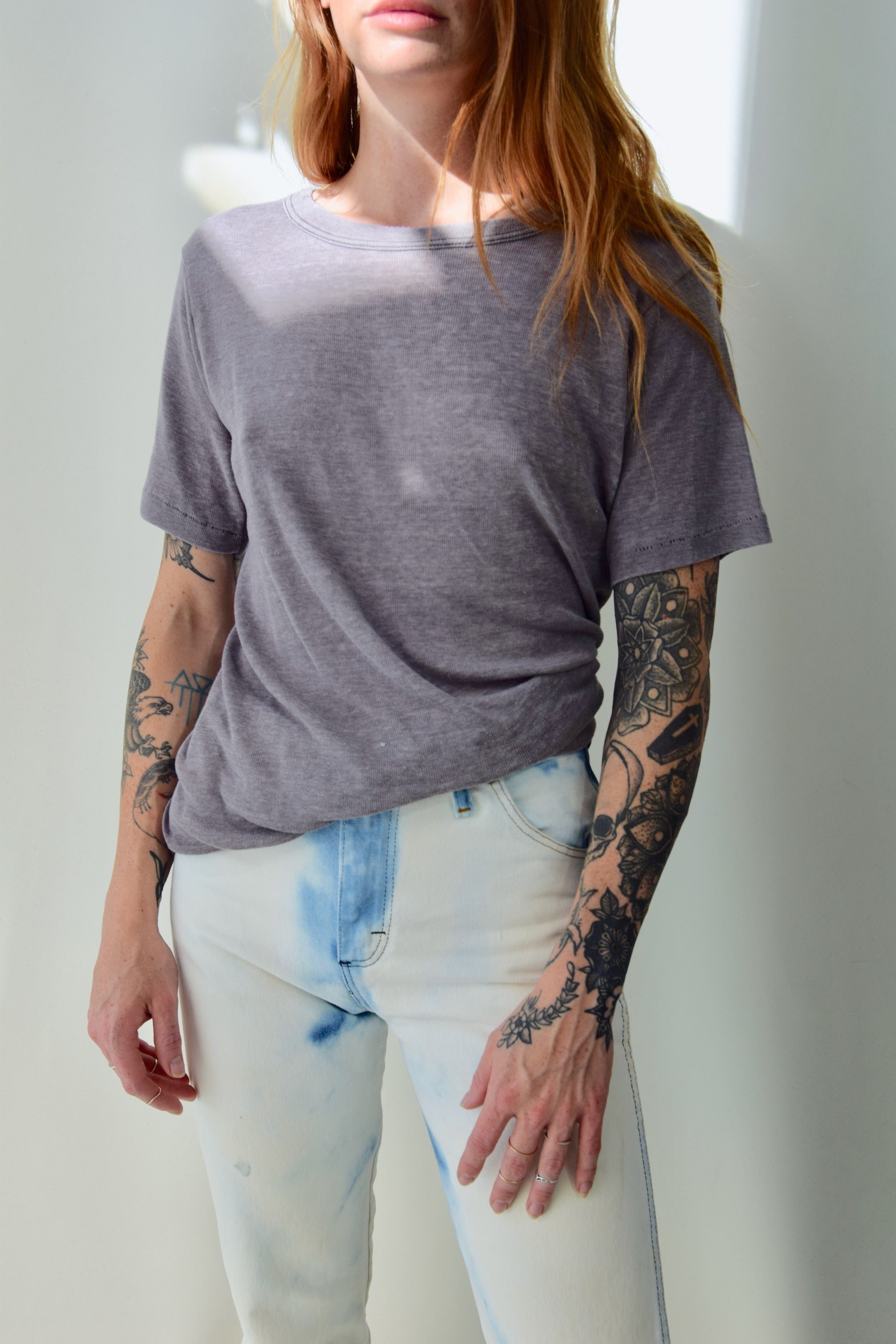 Thin Cotton Mauve T-Shirt