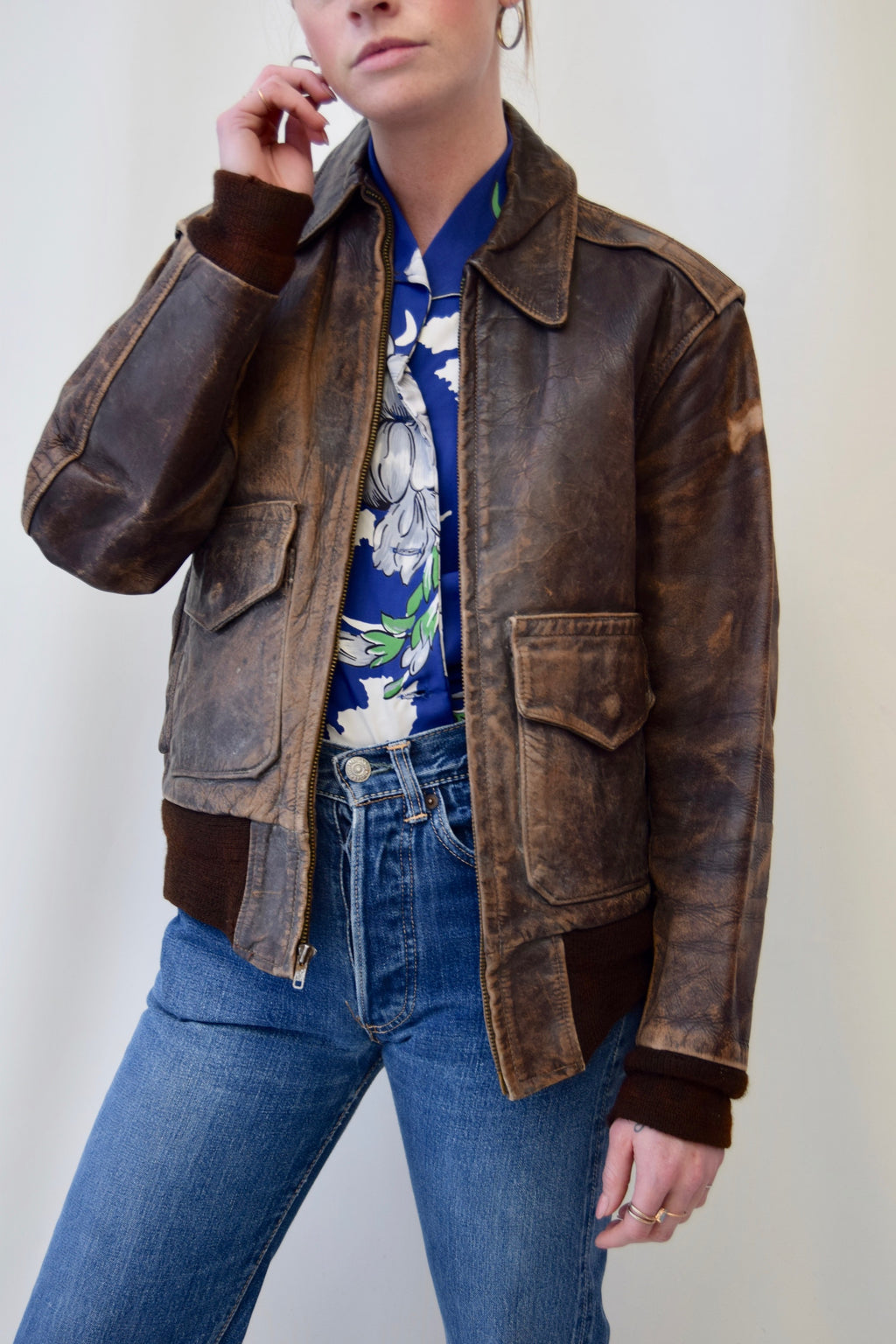 "1950's ""All Weather"" Horsehide Leather Jacket"