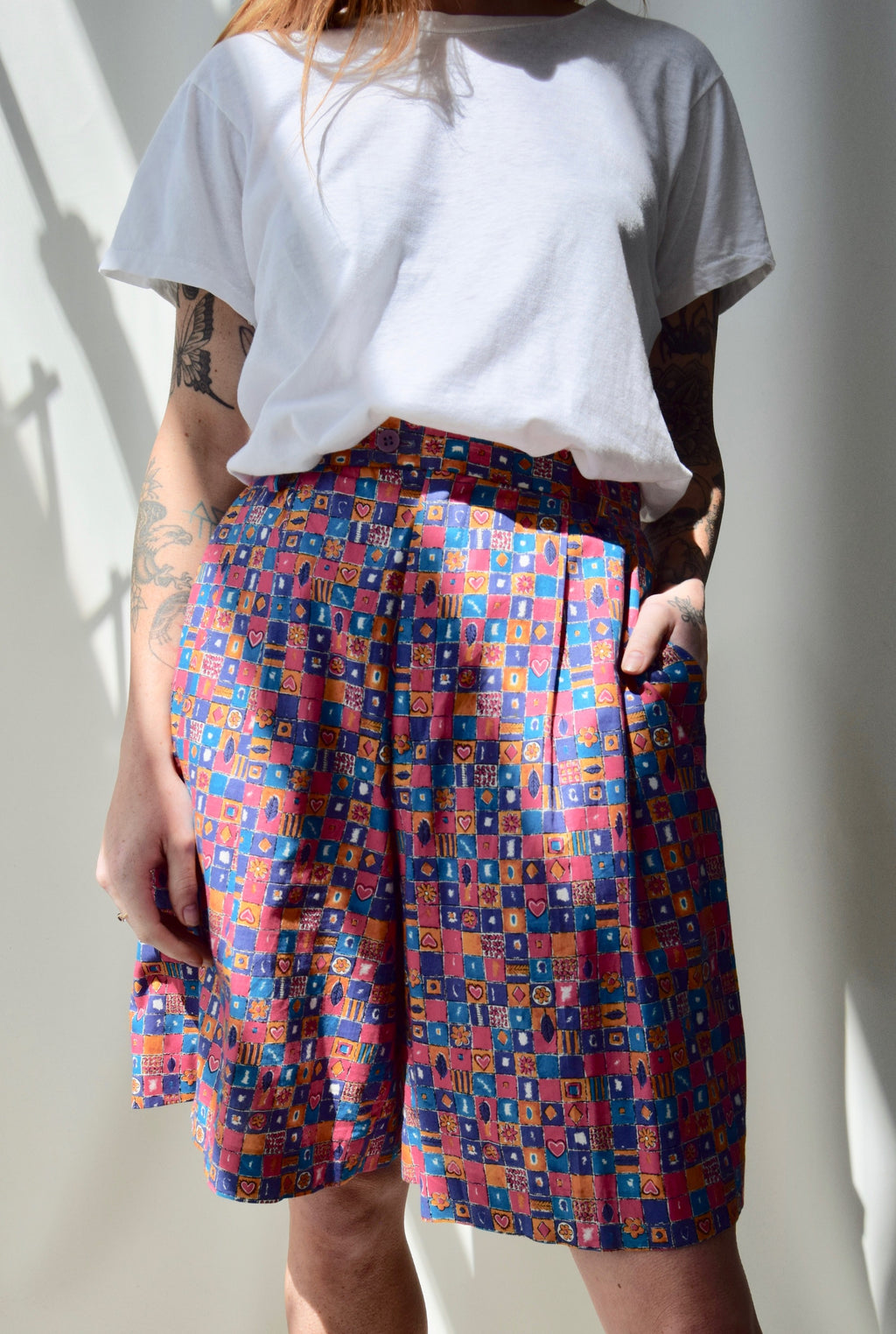 Patchwork Trouser Shorts