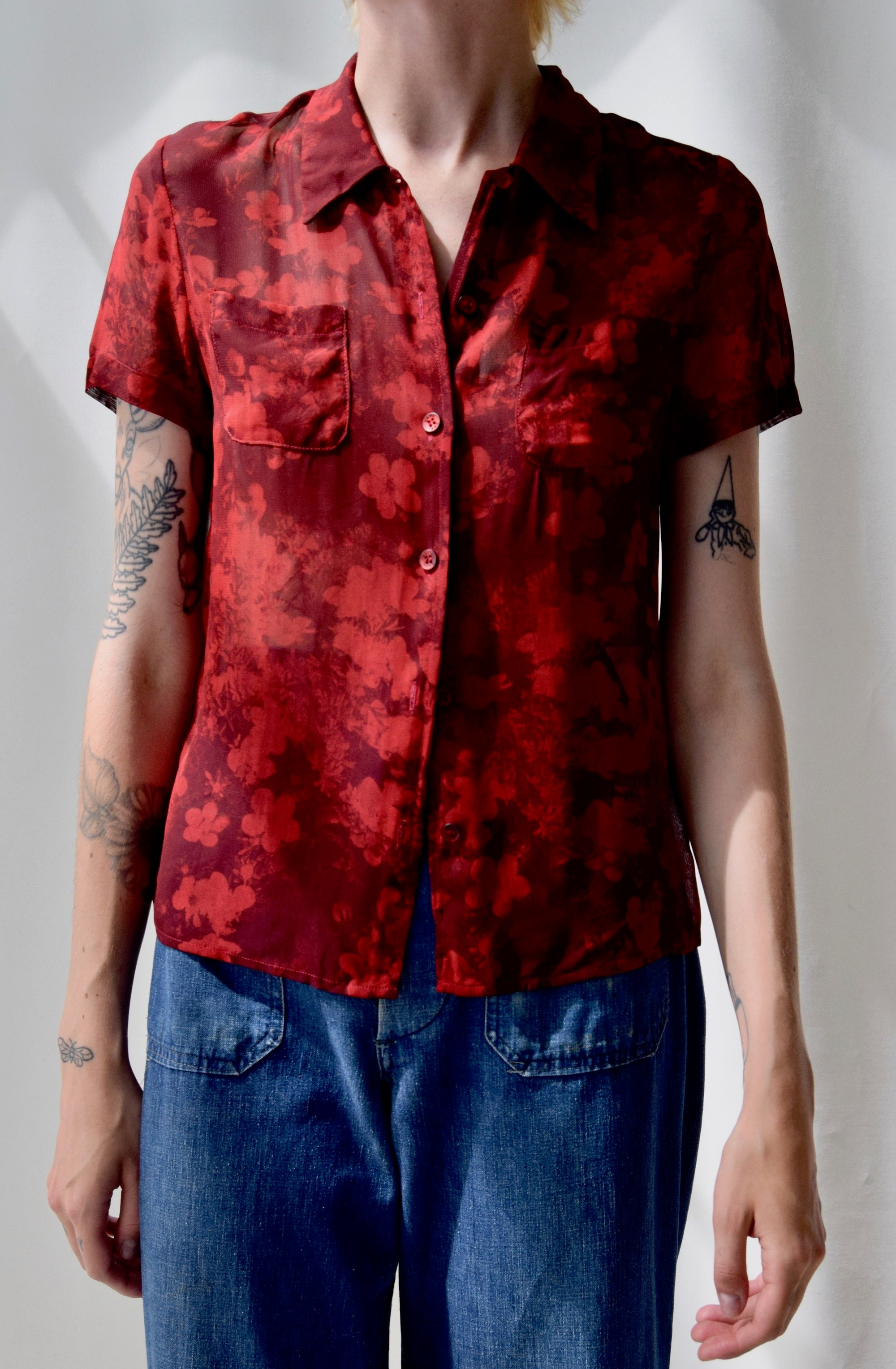 90's Two Tone Red Floral Rayon Top