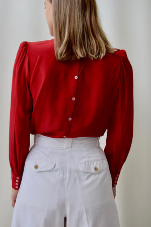 80's Cranberry Silk Top