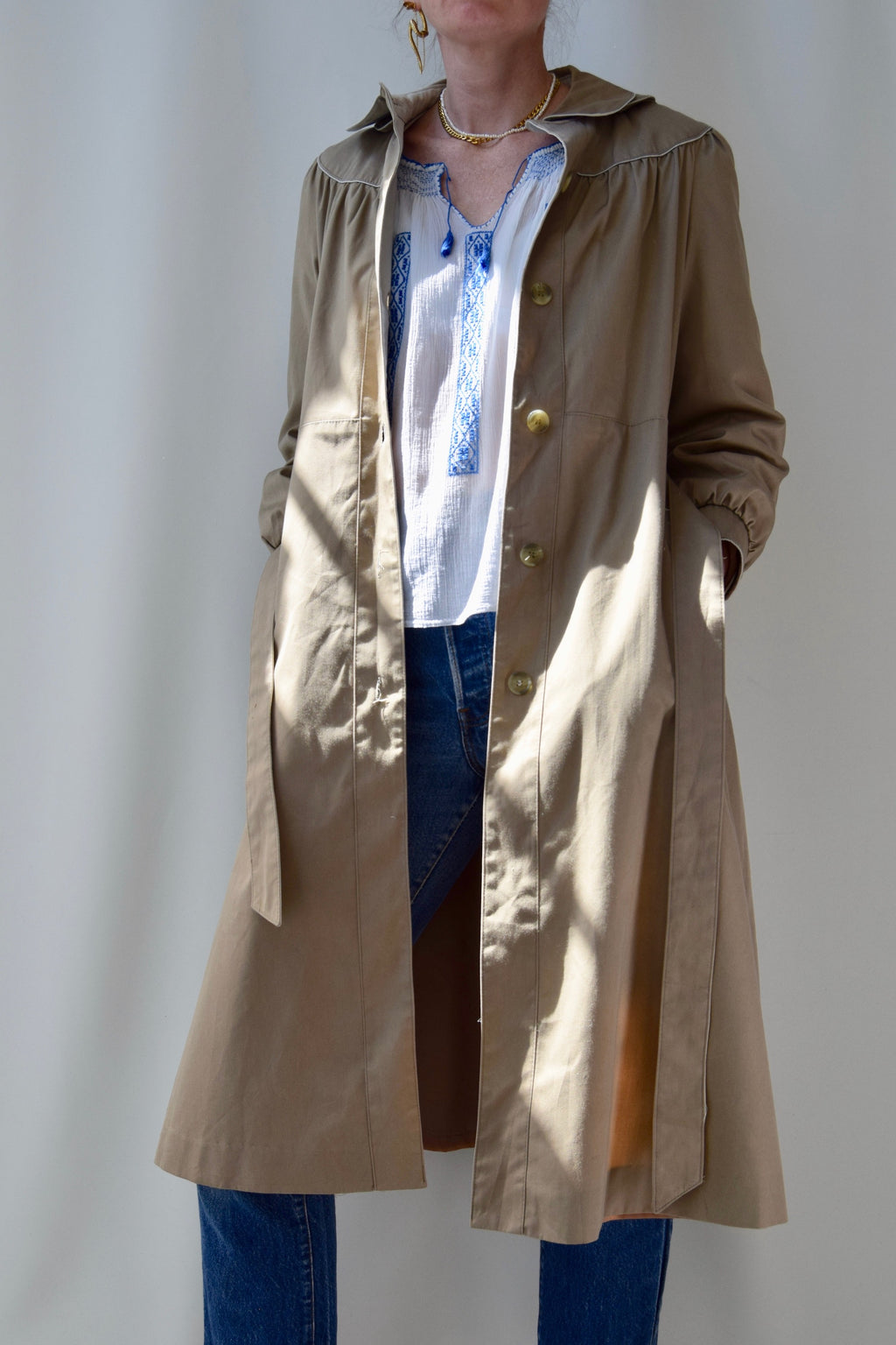 Hooded Trench Coat With Ruching